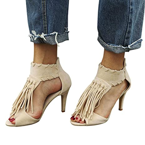 7b9cb49877e1c WensLTD Women Sandals Flat Flip-flop Sandals Fashion Ankle Tassel Zip Peep  Toe High Heel