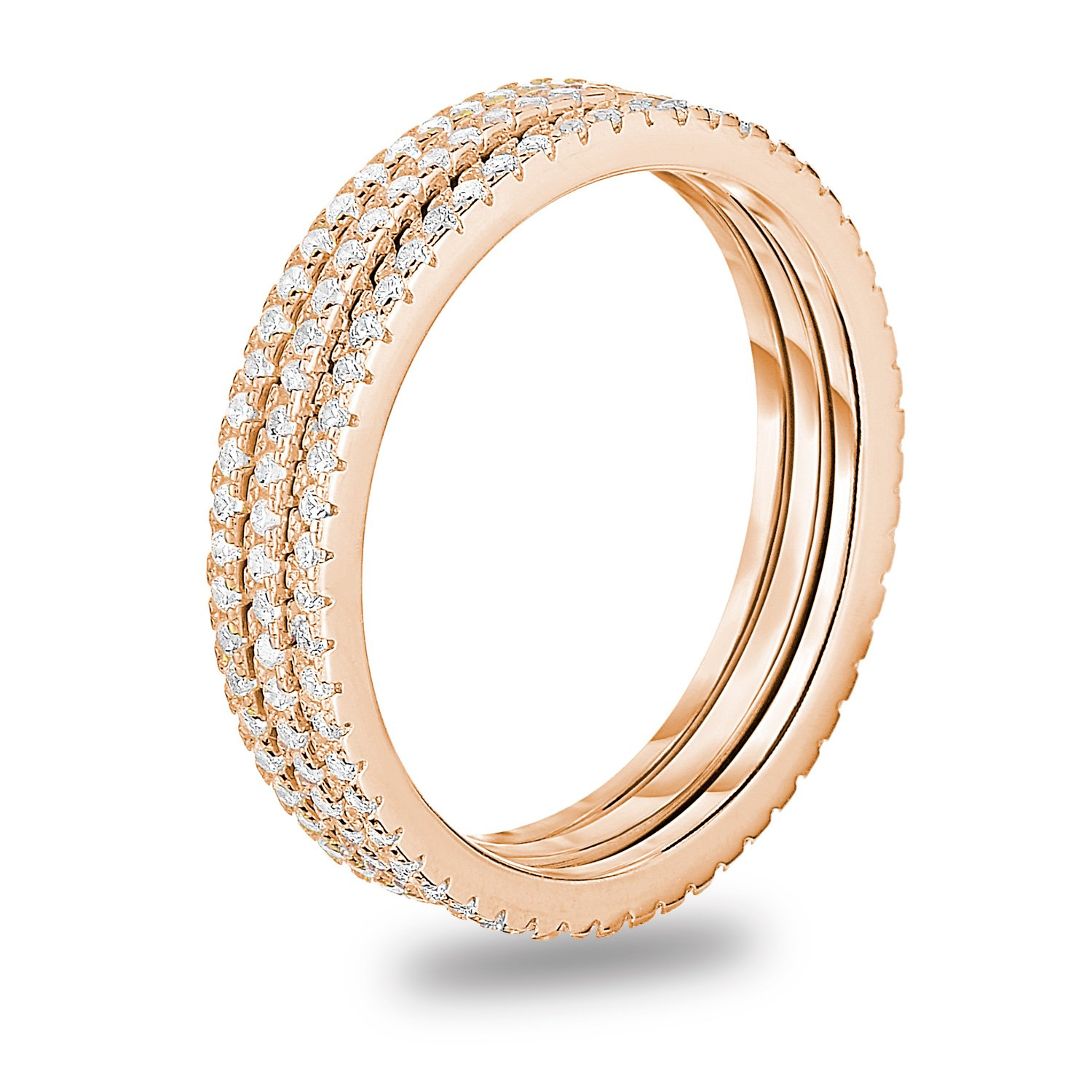 Rose Gold Plated Sterling Silver Cubic Zirconia 3pcs Stackable Eternity Wedding Band Ring, Size 6