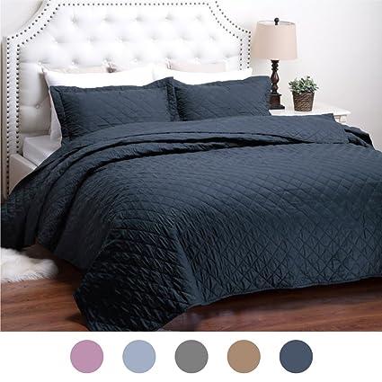 Amazon Quilt Set Solid Navy Blue Fullqueen86x96