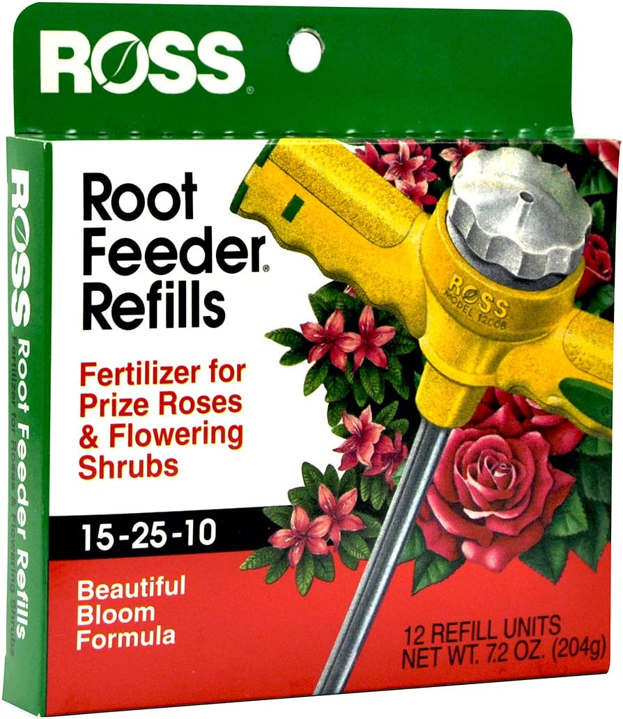 Ross Rose & Flowering Shrubs Fertilizer Refills for Ross Root Feeder, 15-25-10 (Ideal for Watering During Droughts), 12 Refills