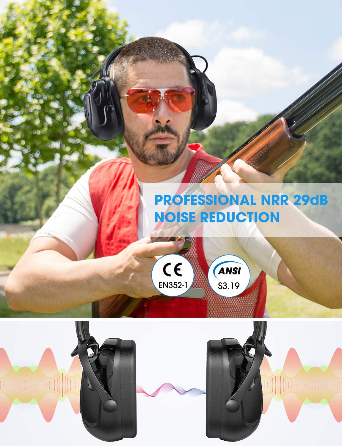Rechargeable Battery and Volume Control Mpow HP102A Bluetooth Noise Reduction Safety Ear Muffs Built-in Mic Black NRR 29dB//SNR 36dB Adjustable Ear Hearing Protection Headphones with 3.5mm AUX