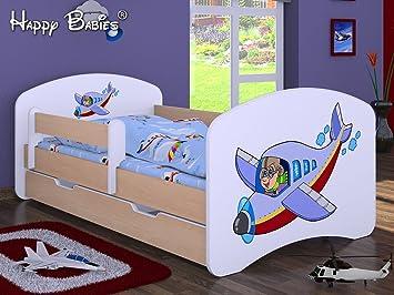 Kinderbett Flugzeug Mit Matratze Und Bettkasten Neu 70 Cm X