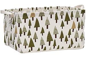 "Sea Team 16.5"" x 11.8"" x 9.8"" Square Natural Linen & Cotton Fabric Storage Bins Shelves Storage Baskets Organizers for Nursery & Kid's Room (Tree)"