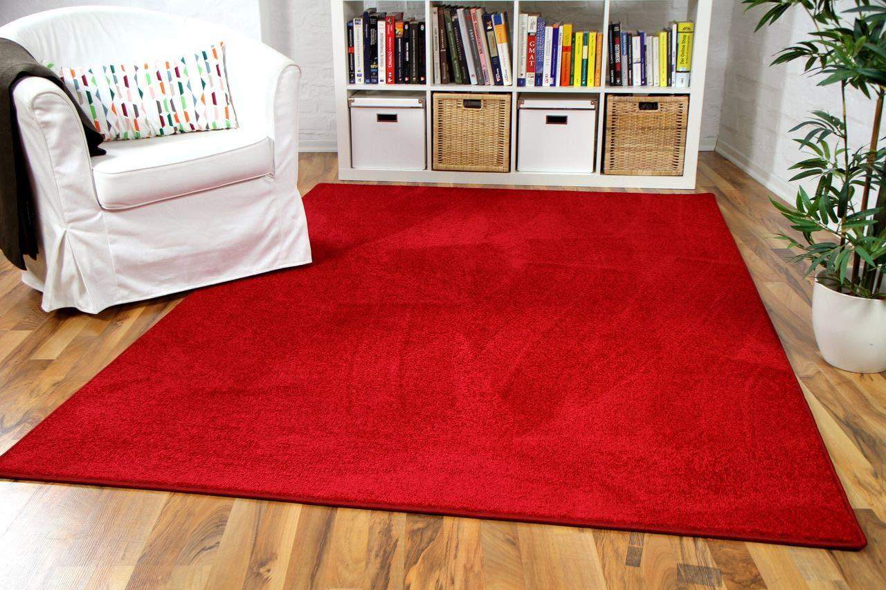 Hochflor Velours Teppich Luna Rot in 24 Größen