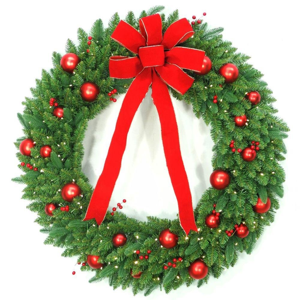48 in. Battery Operated Mixed Fir Artificial Wreath with 200 Clear LED Lights (1)
