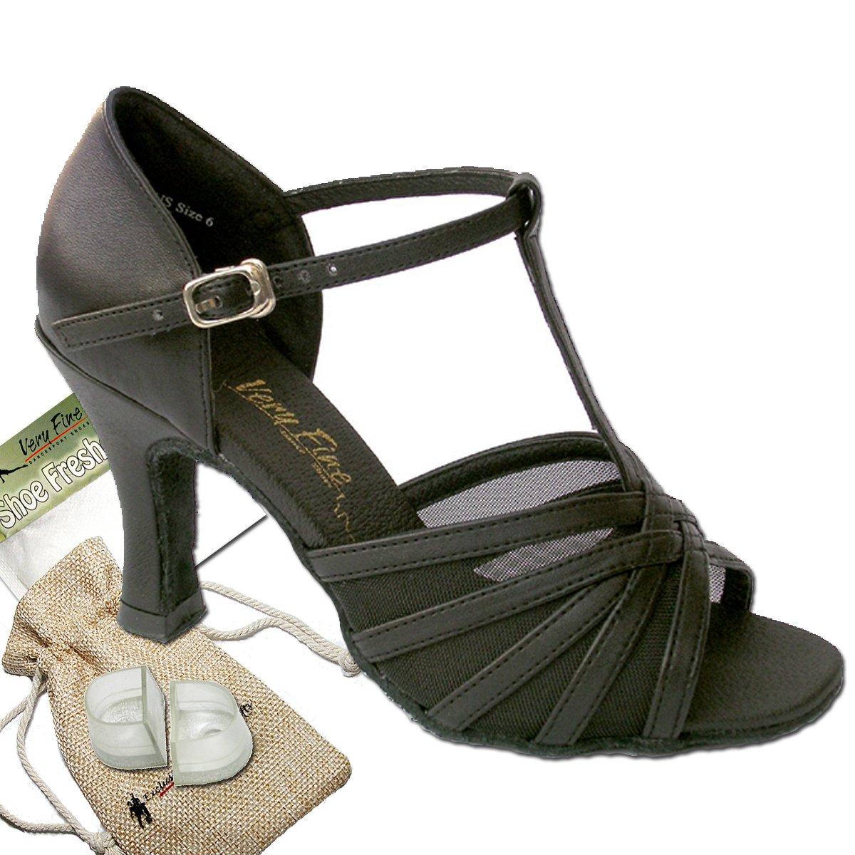 Women's Ballroom Dance Shoes Tango Wedding Salsa Dance Shoes Black Leather & Mesh 16612EB Comfortable - Very Fine 2.5'' Heel 8 M US [Bundle of 5]