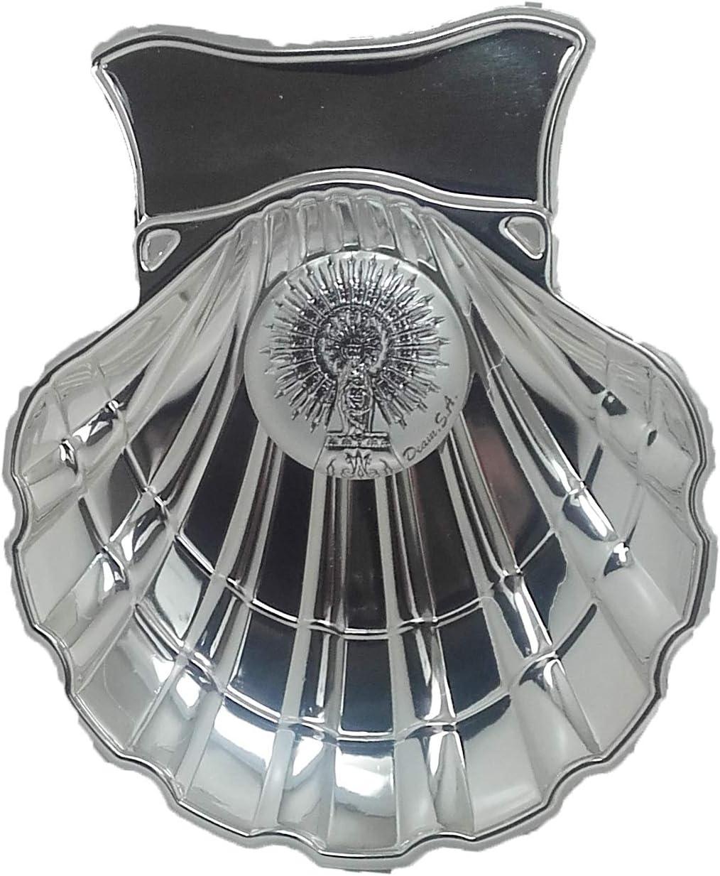 Concha Bautismal de la Virgen del Pilar en metal plateado, incluida su personalización con nombre y fecha