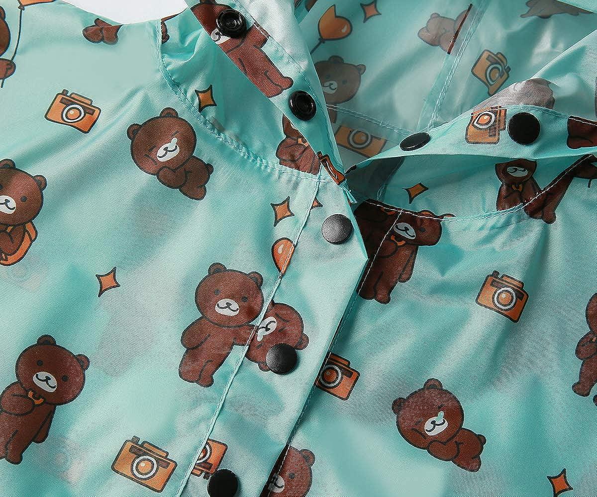 SaphiRose Lightweight Kids Rain Poncho Jacket Waterproof Outwear Rain Coat