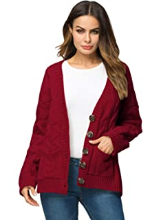 0a2e4b0840 Doballa Women s Slouchy Grandad Cable Knit Button Down Chunky Cardigan  Sweater with Pockets