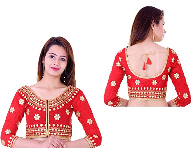 first look best supplier good out x Buy BULBUL Red silk stylish readymade with pad blouse at Amazon.in