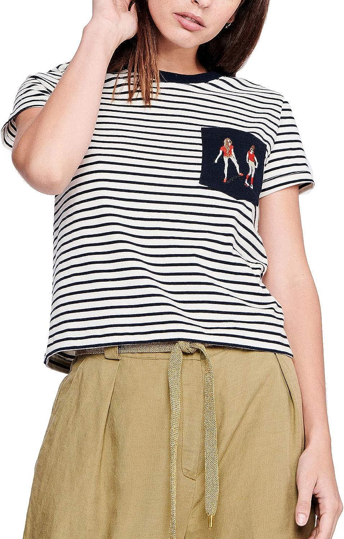 Acote Womens Striped Pocket Tee Navy//Ivory 3