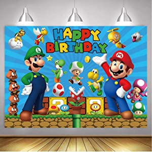 Dost Super Mario Backdrop Games Theme Mario Baby Shower Kids Birthday Party Banner (7x5FT)