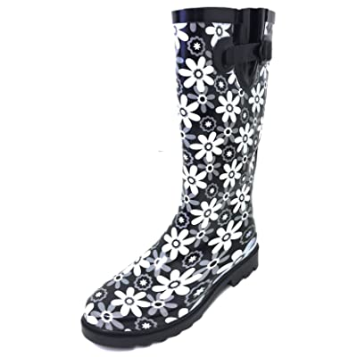 G4U Women's Rain Boots Multiple Styles Color Mid Calf Wellies Buckle Fashion Rubber Knee High Snow Shoes   Knee-High