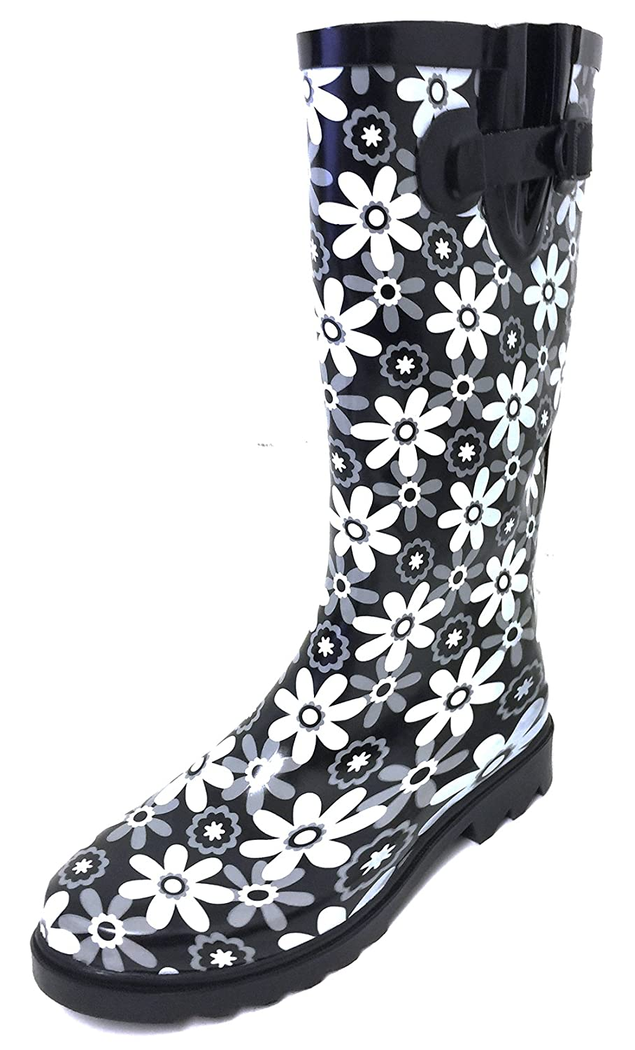 Black White Flowers G4U Women's Rain Boots Multiple Styles color Mid Calf Wellies Buckle Fashion Rubber Knee High Snow shoes