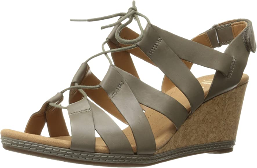ed9e53a526 Amazon.com   CLARKS Women's Helio Mindin Wedge Sandal, Sage Leather ...
