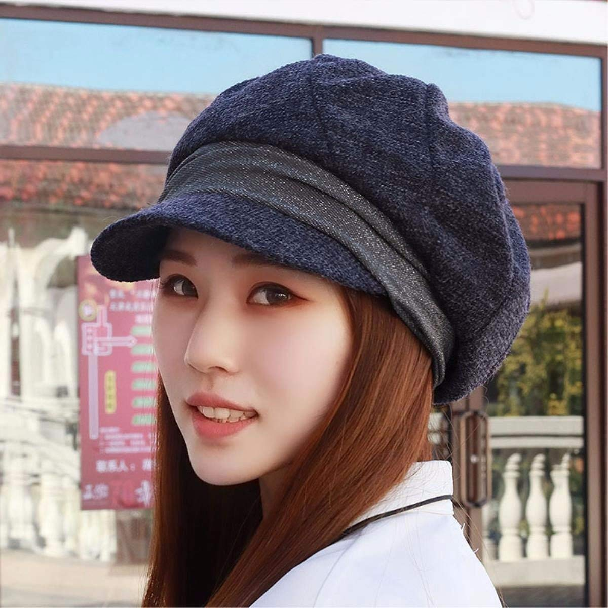 Thundertechs Hat Female Spring and Summer Beret Cap Cap of Yuan Quality Video face h-Cap Mother Cap (Color : Grey, Size : M)