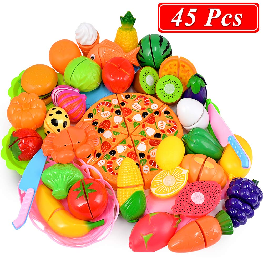 ONLYO Cutting Toys, 45 PCS Play Cutting Food Kitchen Toy Cutting Fruits Vegetables Pretend Food Playset Early Development Learning Toy Gifts for Christmas for Toddlers Kids Boys Girls with Storage Bag