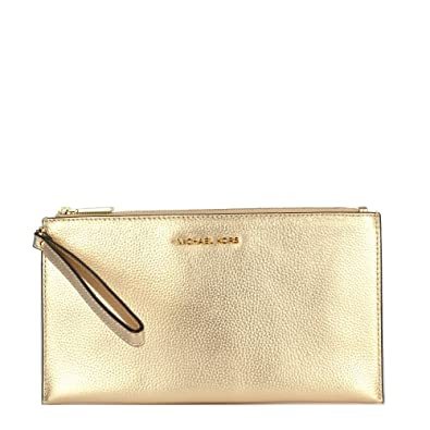 505c13314a0e1 Michael Kors Womens Mercer Leather Wristlet Clutch Gold Large  Handbags   Amazon.com