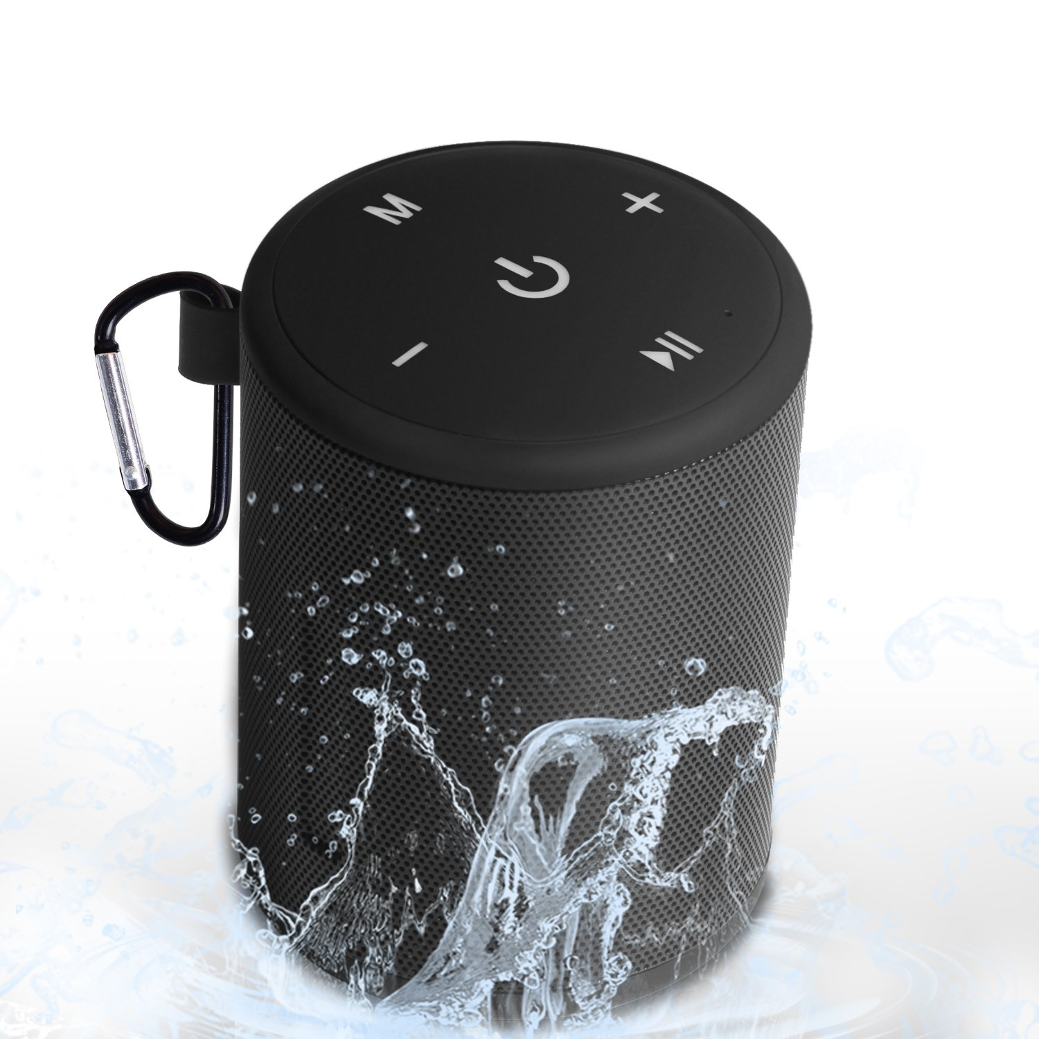Portable Bluetooth Speaker Wireless Speakers 3D Stereo Surround Sound,TWS Sync Playback,IPX5 Water Resistance & Built-in Mic,Shockproof and Dust Proof, Suitable for Indoors Outdoors(Black)