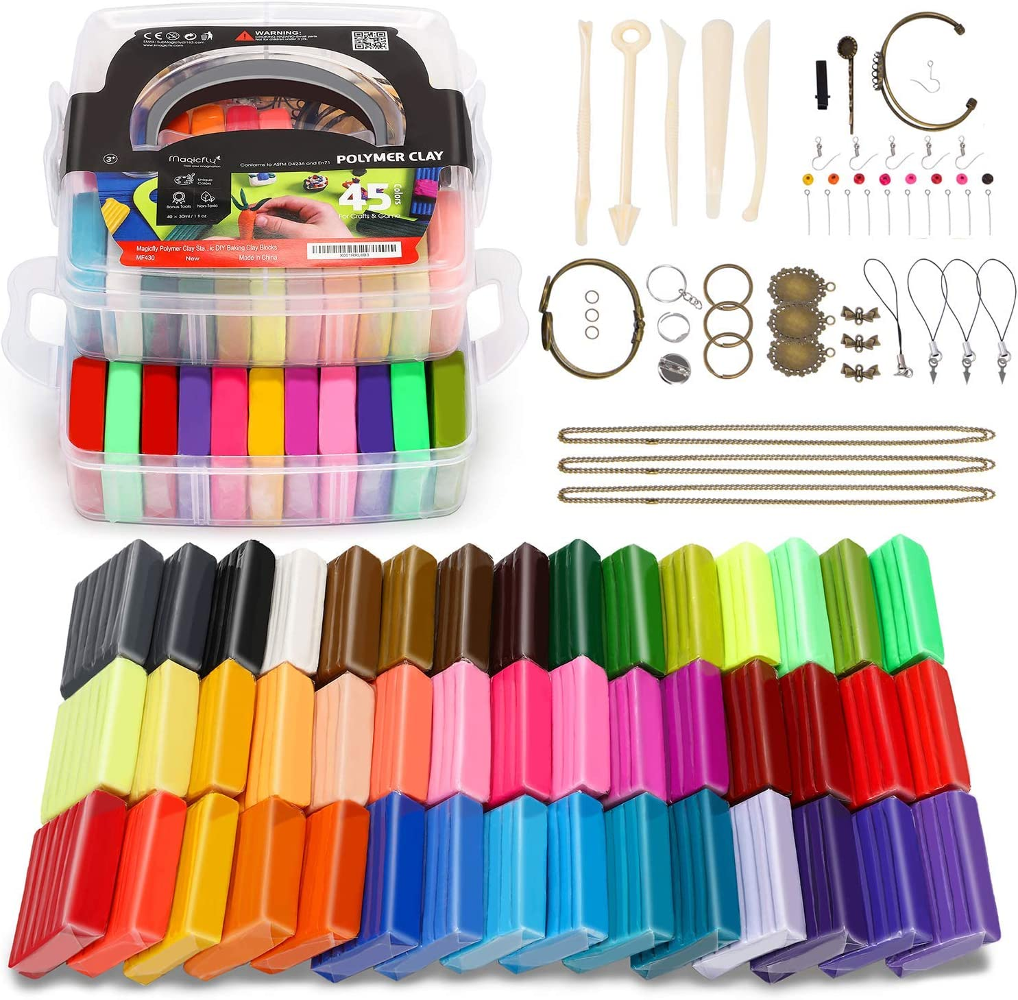 24 Colour Kinder SUNNOW Polymer Ton 24 Farben 680g//1.5LB Modelliermasse Ofen Backen Polymer Clay DIY Weich Handwerk Ton Set mit Modellierwerkzeugen und Zubeh/ör in Aufbewahrungsbox