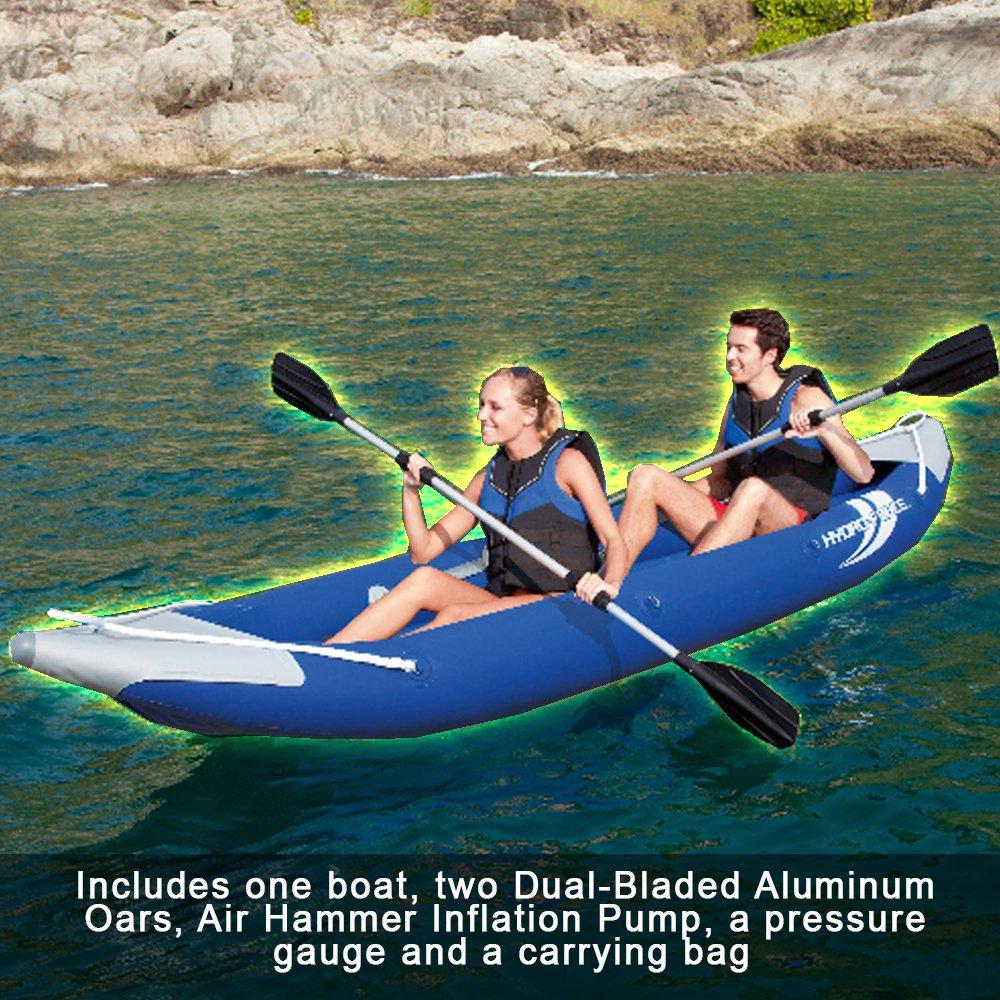 カヤック 2人用ボルト インフレータブルカヤック ボート1本 デュアルブレードアルミオーク ハンドポンプ 圧力計 キャリーバッグ付き 夏に水をナビゲートするのに最適   B07DRM46BH