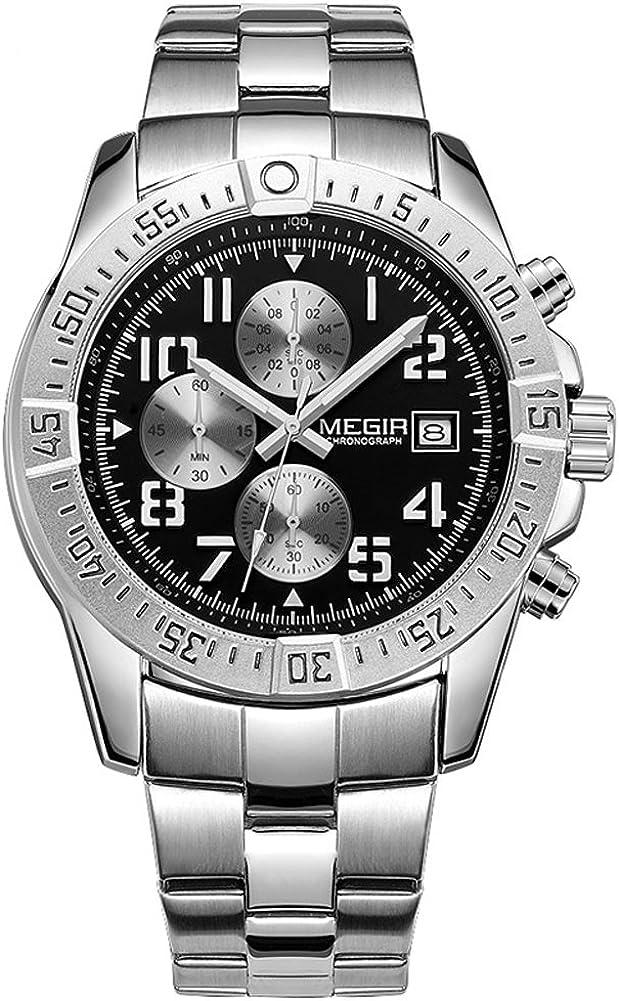 Megir 2030GH - Reloj analógico de cuarzo para hombre de acero inoxidable con calendario
