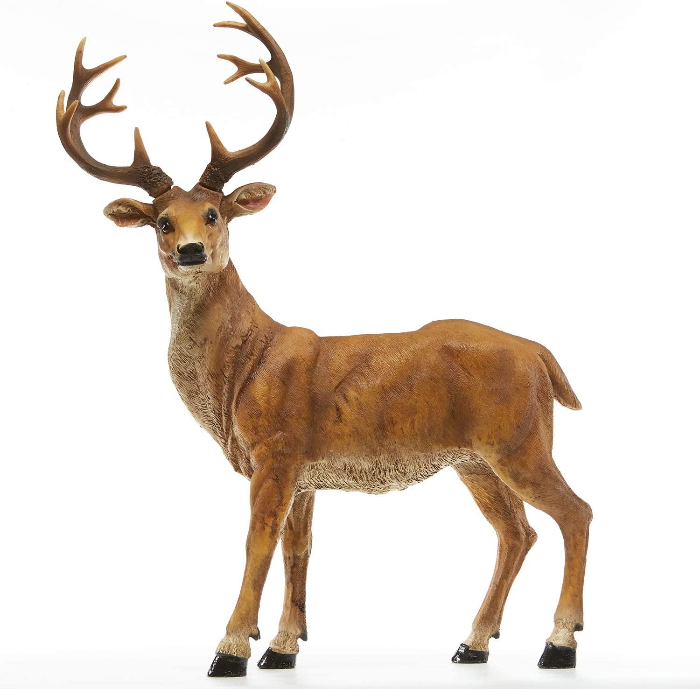 "JHVYF 20.5"" H Resin Deer Figurine Standing Buck Statue Home Office Decor Animal Decorations Lawn Decor Housewarming Gift Garden Sculpture"