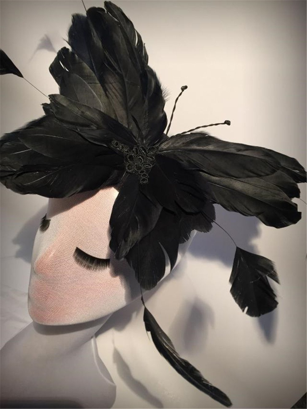 Unique Alice Feather butterfly Hat Headpiece Fascinator Party Races Stage dance bride Hair Accessories (Black)