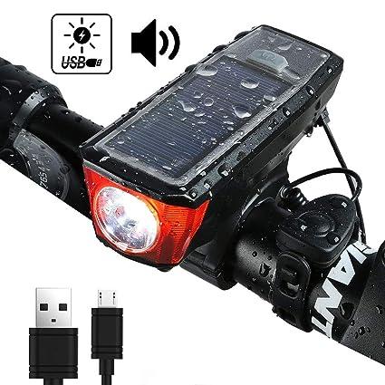 389e80d4972 Onedayshop® Bike Horn Light Bike Headlight Light Sensor USB Solar  Rechargeable Bike Front Light Waterproof