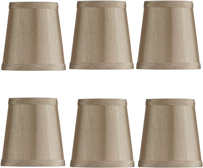 YISUN Set of 6 Clip On Gauze Chandelier Lamp Shades Little Upright Wall Candle Light Lampshade (Black) (6, Gold)