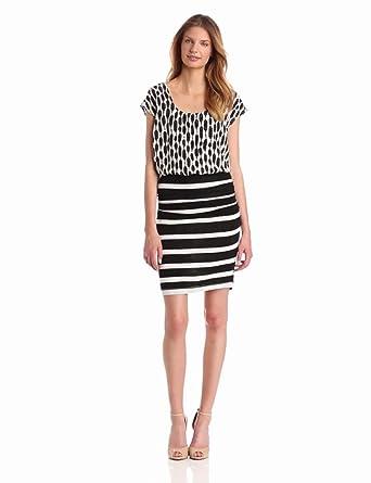 Tracy Reese Women's Jersey Blouson Dress, Black Dappled Dots, Small