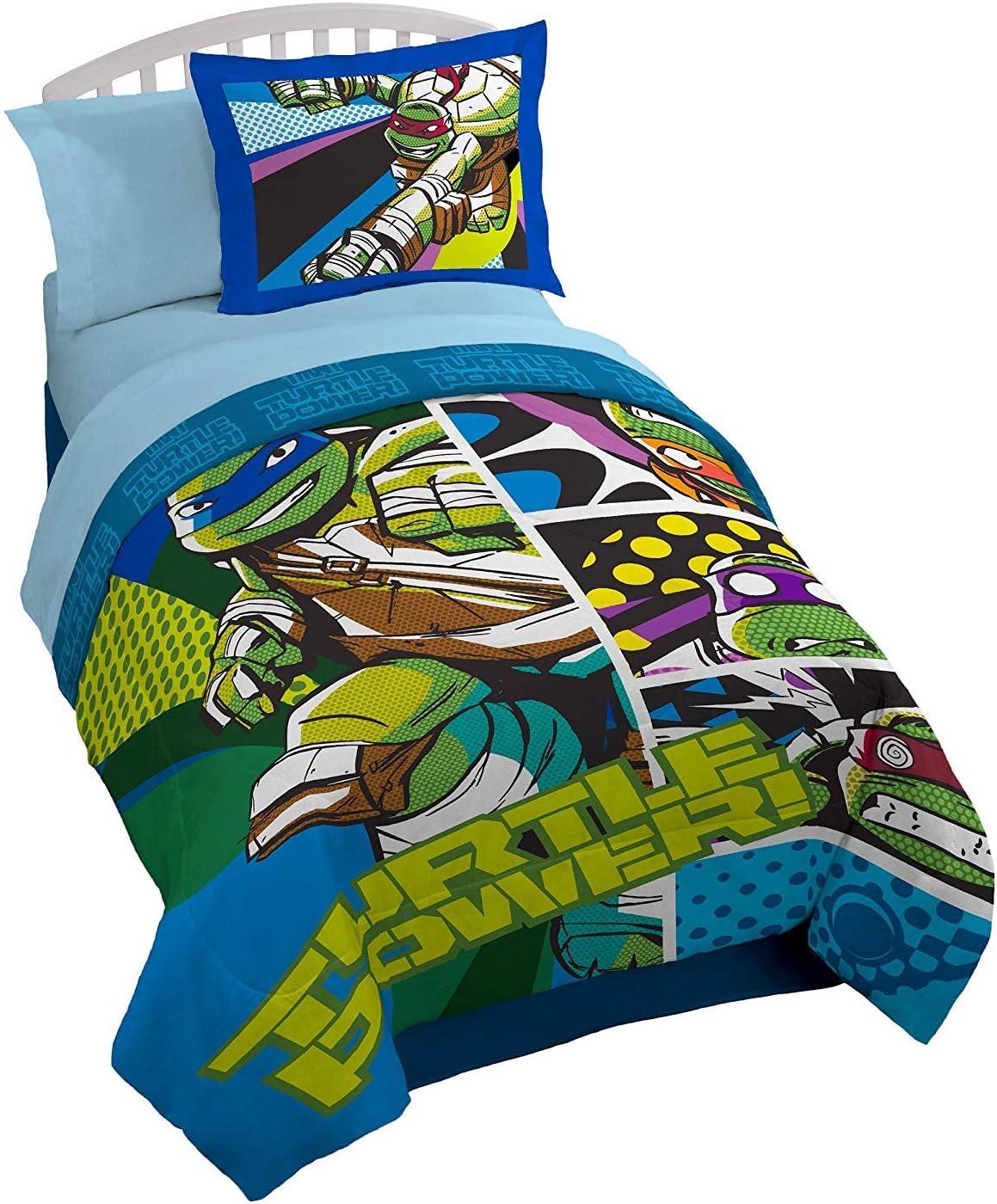 Nickelodeon Teenage Mutant Ninja Turtles 5-Piece Twin Bedding Collection with Comforter, Sheet Set, Pillowcase and Pillow Sham, TMNT