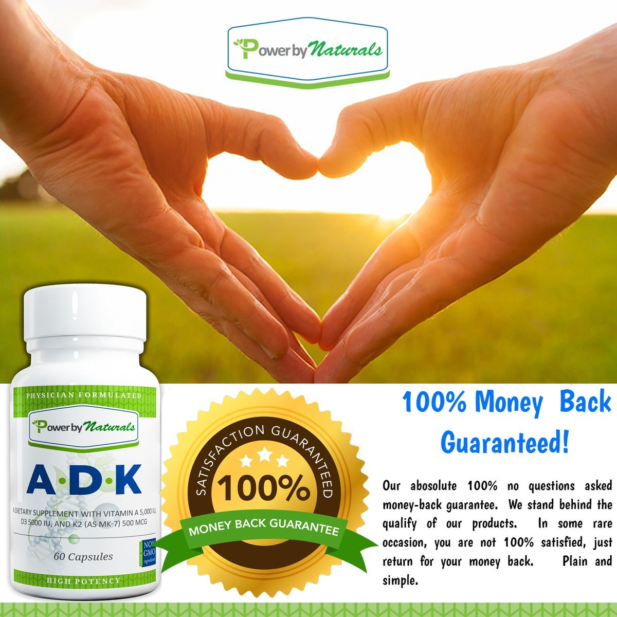 Amazon.com: Vitamin ADK ~ High Potency [ Vitamin A 5000 iu | D3 5000 iu| K2 (as MK-7) 500mcg ] Supplement For Bone Strength and Heart Health, Dr. Formulated ...