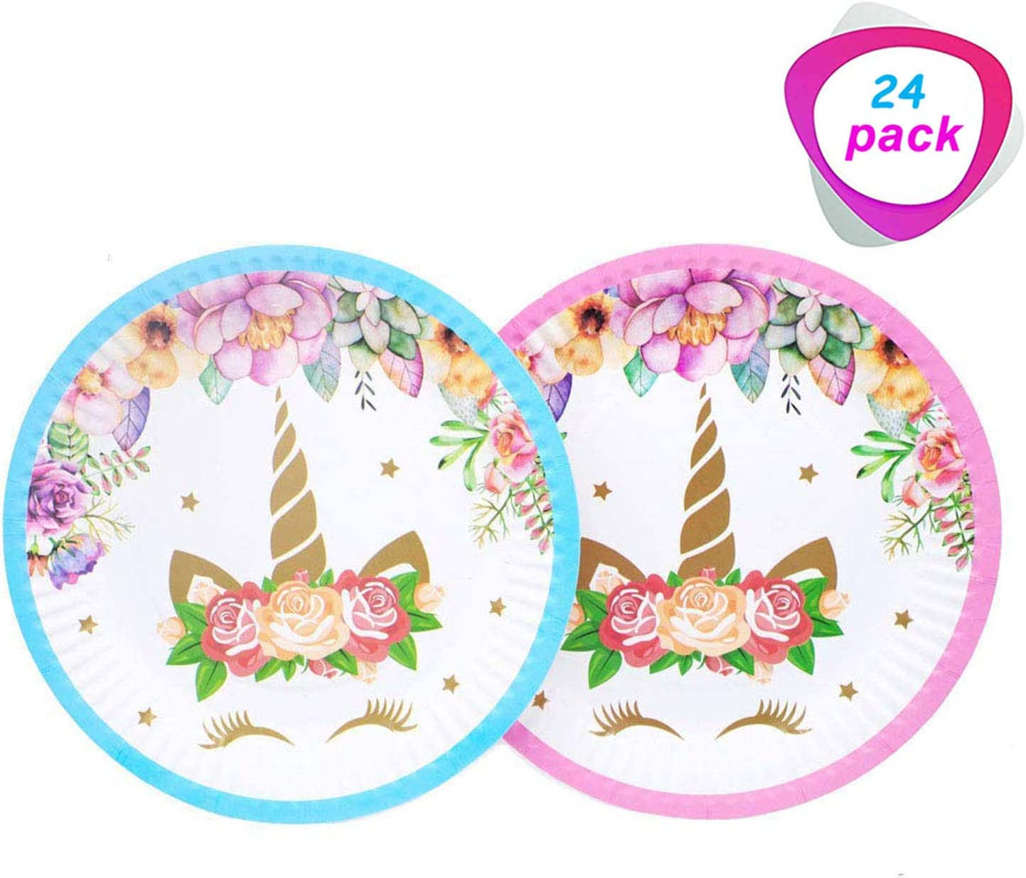 Unicorn Paper Plates for 24 Guests