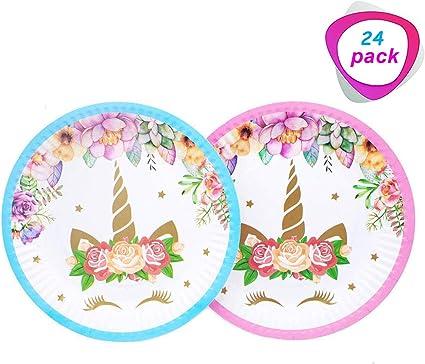 Amazon.com: Juego de 24 platos mágicos de unicornio de 7.0 ...