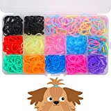 "YOY 3/4"" Pet Dog Stretchy Rubber Bands, 600/Box - Puppy Elastics Ties Pony Tail Holders Hair Accessories for Doggy…"