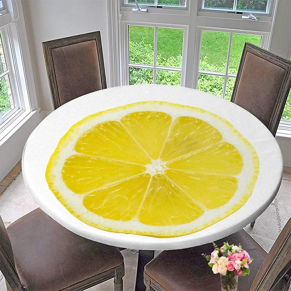 """PINAFORE HOME Round Table Tablecloth Lemon Slice Over White with a Bright Yellow for Wedding Restaurant Party 31.5""""-35.5"""" Round (Elastic Edge)"""