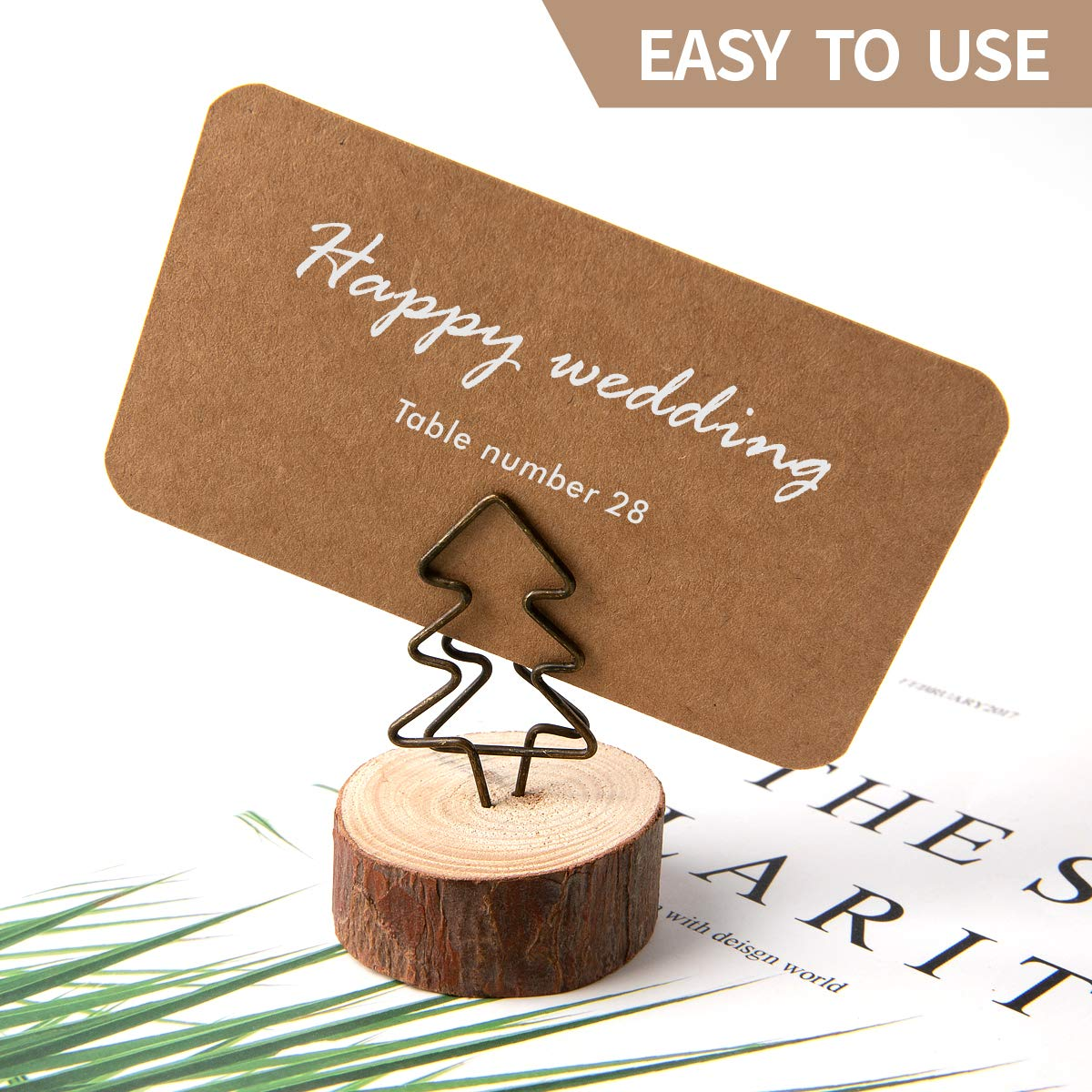 Zeroway 10 Pcs Rustic Wooden Base Place Card Holders with 10 Pcs Retro Blank Kraft Cards and White Highlighter Pencil for Wedding Home Party Decorations