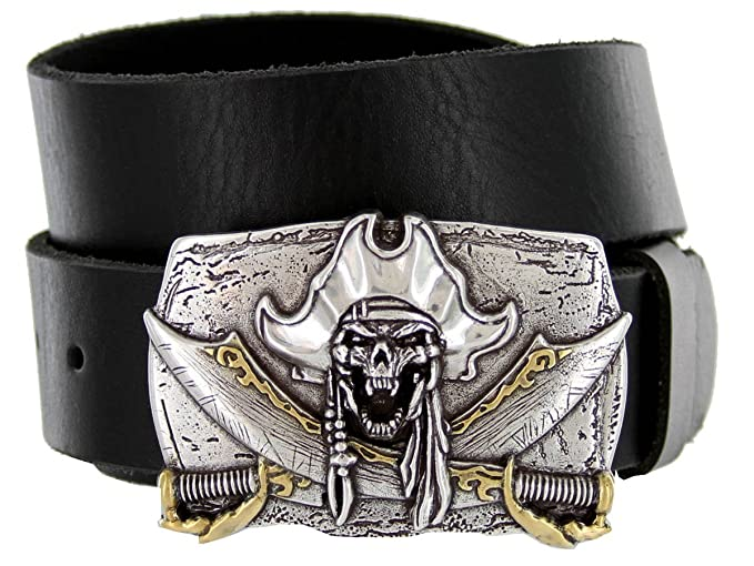 Men's Pirate Jolly Roger Buckle Black Leather Belt