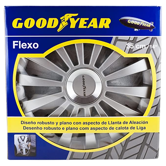 Good Year GOD9029 - Set de 4 Tapacubos Flexo 30, Plata, 14 Pulgadas: Amazon.es: Coche y moto