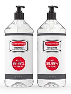 Rubbermaid Gel Hand Sanitizer, Alcohol-Based, Pack of 2 Bottles, 32 Ounces Each, 2140739