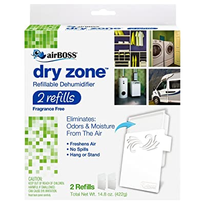 .com - airBOSS Dry Zone Refillable Dehumidifier 2 Refills (1) Fights Mildew and Odors, Fragrance Free -