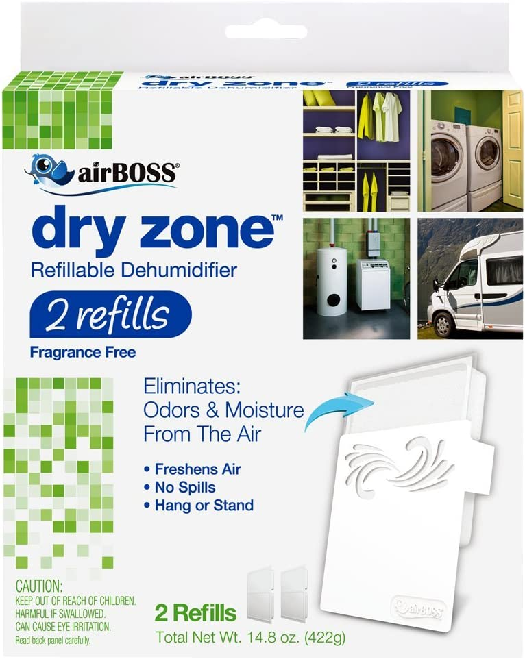airBOSS Dry Zone Dehumidifier Fragrance-Free, Refillable, 2 Refills (4) Fights Mildew and Odors, Fragrance Free