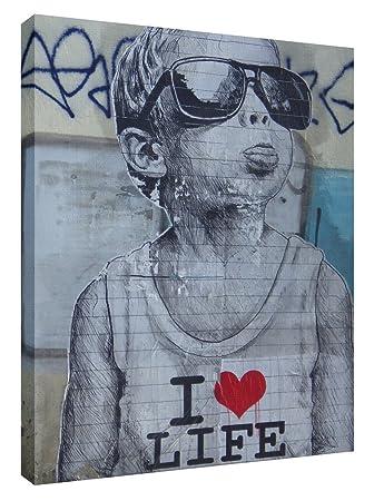 c1b3a7cdae2447 Amazon.de  Banksy I Love Life Boy Print Kunstdruck auf Leinwand in  a0-a1-a2-a3-a4 Größen