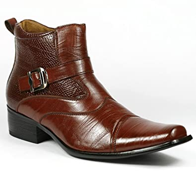 Amazon.com | Delli Aldo Men's Brown Buckle Strap Ankle High Dress ...