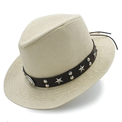 GR Mujeres Hombres Playa Sombrero de Sol Paja Sombrero Occidental Sombreros  de Vaquero Papá (Color 049f9b15243