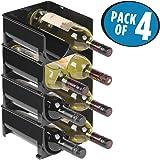 mDesign Rangement bouteille – Ce casier à bouteille est l'accessoire parfait pour ranger les bouteilles – Porte bouteille empilable idéal pour les bouteilles de vin – Pack de 4 – Sans BPA – Noir