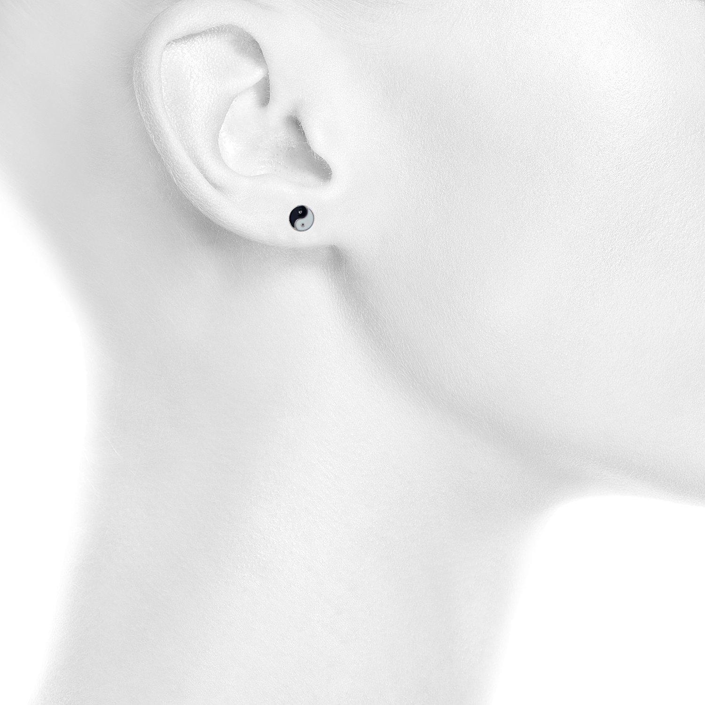 Lux Accessories Silver Tone Ying Yang Twin pair Enamel Novelty Stud Earrings