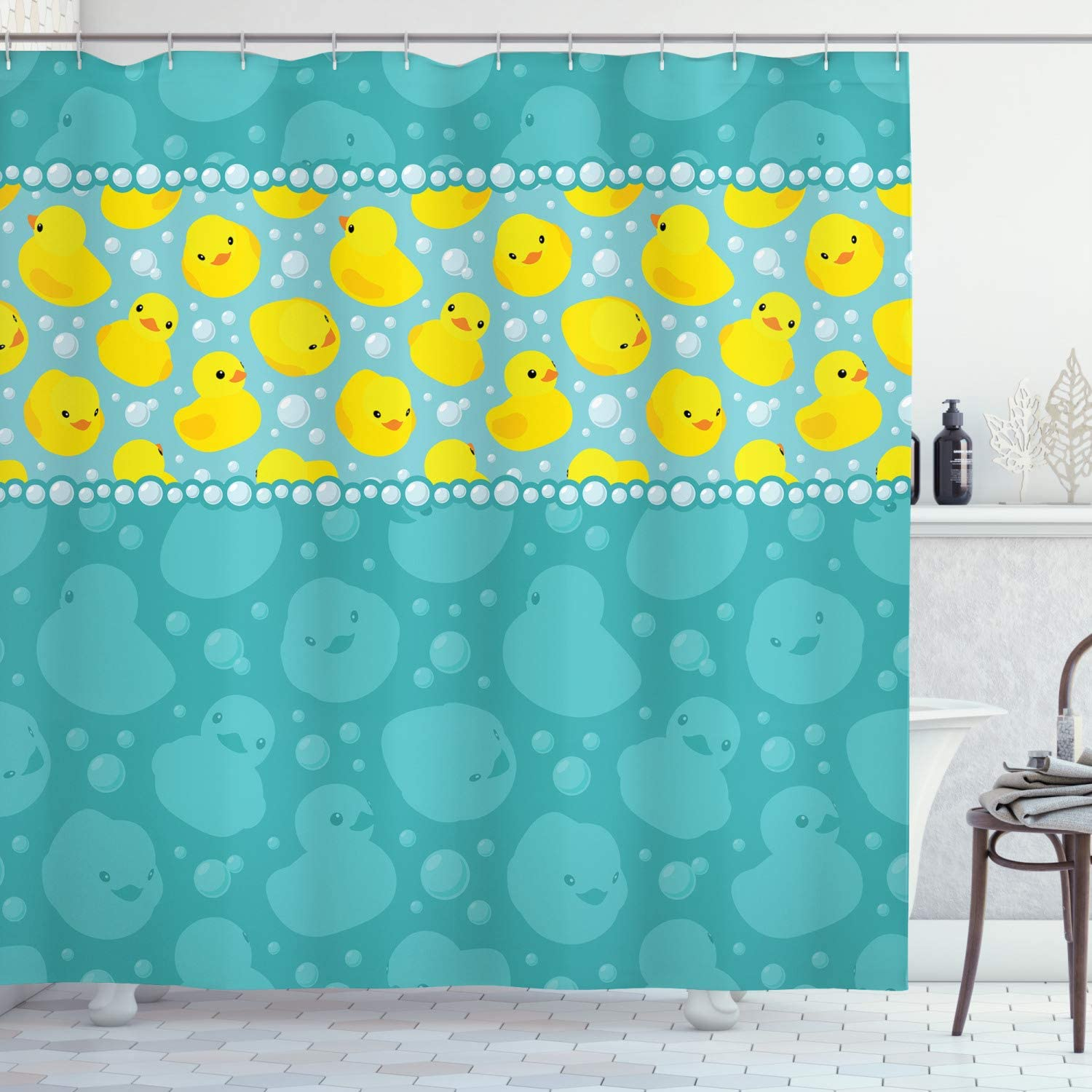 """Ambesonne Rubber Duck Shower Curtain, Yellow Cartoon Duckies Swimming in Water Pattern with Fun Bubbles Aqua Colors, Cloth Fabric Bathroom Decor Set with Hooks, 70"""" Long, Teal Yellow"""