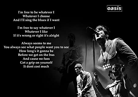 Oasis Champagne Supernova Rock Band Poster Music Photo Black and White Lyrics